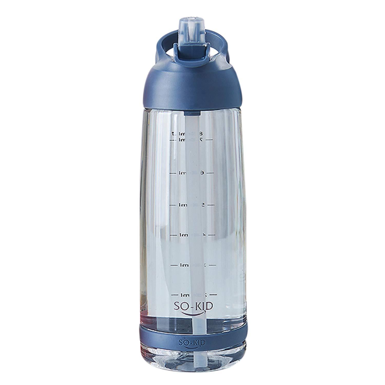 JVSISM Taza De Pajita Port/átil De Moda Taza De Gran Capacidad Botella De Agua para Deportes Al Aire Libre 1000Ml Azul Pl/ástic