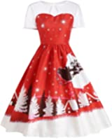 Sandistore Women's Gillberry Women's Vintage Christmas O-Neck Printed Party Retro A-Line Swing Dress