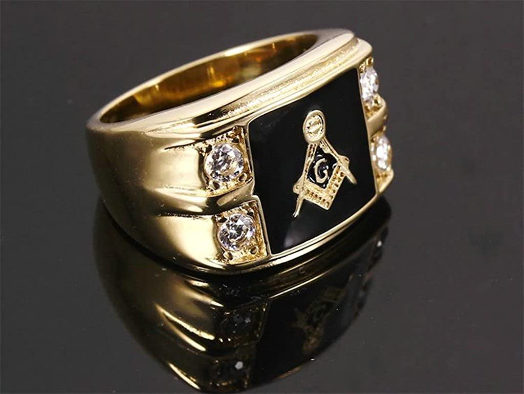 Bishilin Stainless Steel Ip Gold Plated Enamel Free Masonic Mens Rings With Simulated Diamond Size 12