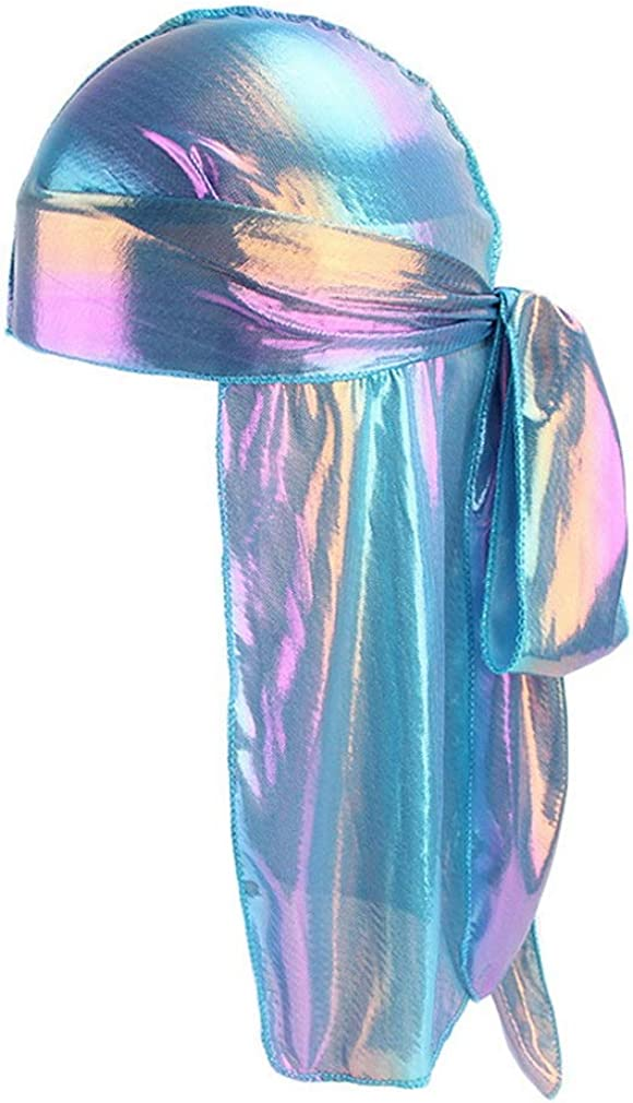 Xiang Ru Unisex Durag Long Tail Headwraps Silk Polyester Pirate Cap Chemo Turban Hat Beanie Muslim Bandana Hip-hop