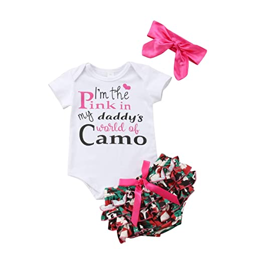 Newborn Baby Girls Clothes I\'m The Pink in My Daddy\'s World of Camo  Rompers+Ruffel Pants Shorts+Headband 3PCS Outfits Set
