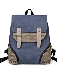 DGY Preppy style Canvas Backpack for College G00126 Blue