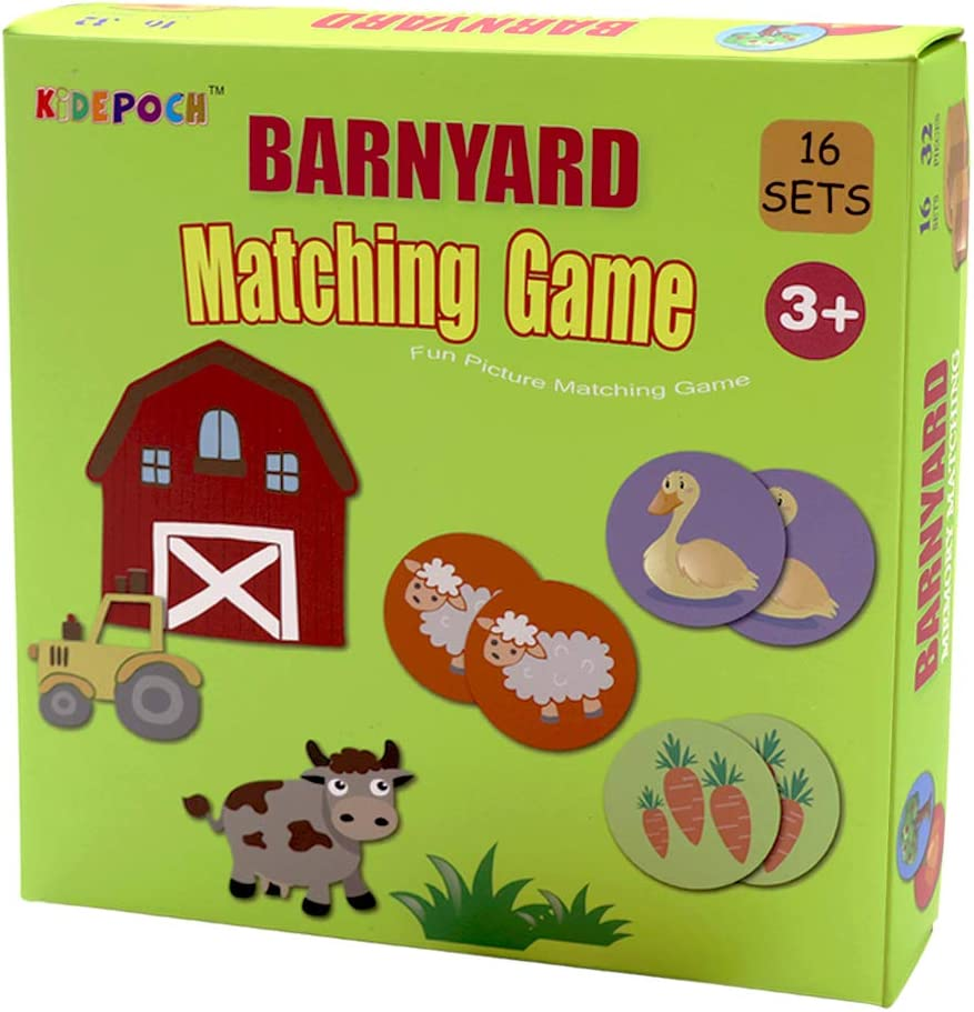 Memory Match Game – 16 Matching Pairs Preschool Memory Games Featuring Barnyard Element, Non Toxic Educational Memory Matching Game, Perfect for Kids, Toddlers, 3 Year Old or Up