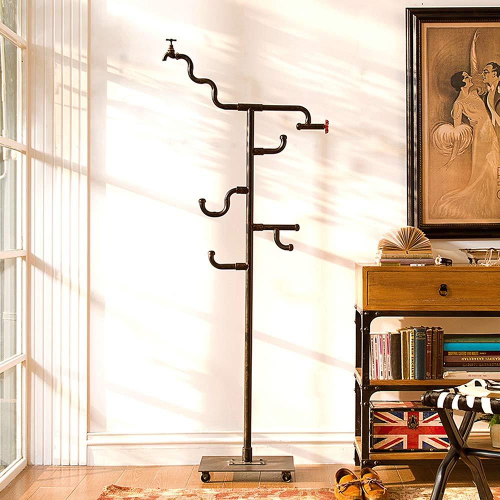 LVZAIXI アメリカのクリエイティブレトロインダストリアル風鍛造アイロンローラーホース蛇口装飾床掛け (色 : 黒)  黒 B07HKCN3TF