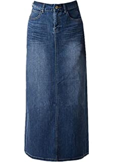 fef72805d09 Women s Maxi Pencil Jean Skirt- High Waisted A-Line Long Denim Skirts for  Ladies