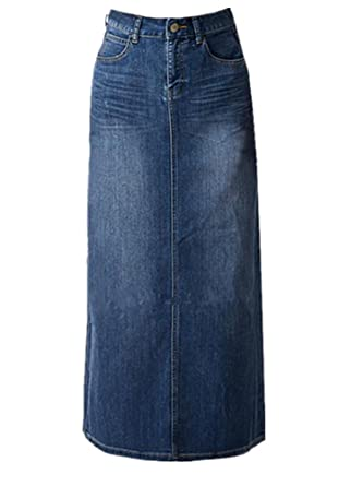 Women Maxi Pencil Jean Skirt High Waisted A Line Long Denim Skirts For Ladies