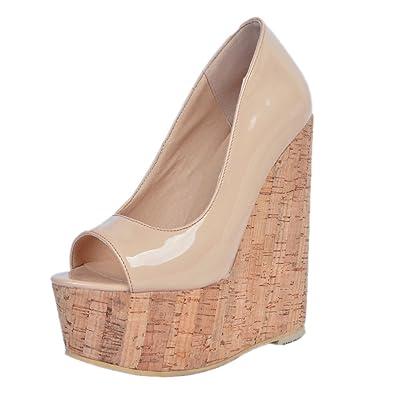 online store 4c6a8 15ed4 Kolnoo 15cm Peep Toe Damen Pumps Plateau Keilabsatz Wedges Schuhe