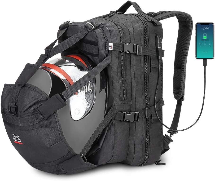ISSYZONE Mochila para Moto Impermeable, Mochila de Moto para Casco, Bolso de Ciclo con Compartamiento para el Casco, con Puerto de Carga USB, 37L
