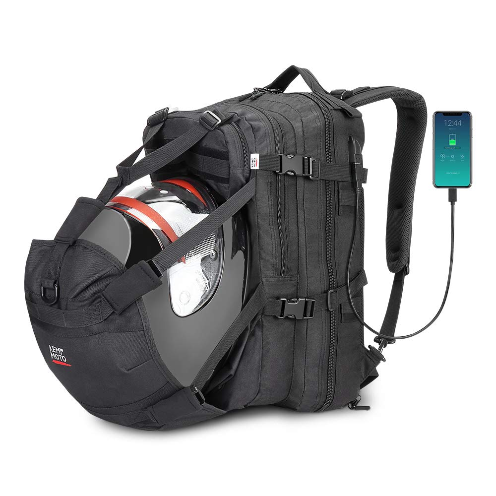 kemimoto Helmet Bag, Motorcycle Backpack Large Capacity Luggage Storage Bag with USB-Charge Port Waterproof Motorbike Backpack for Outdoor Sport Riding 37L by kemimoto