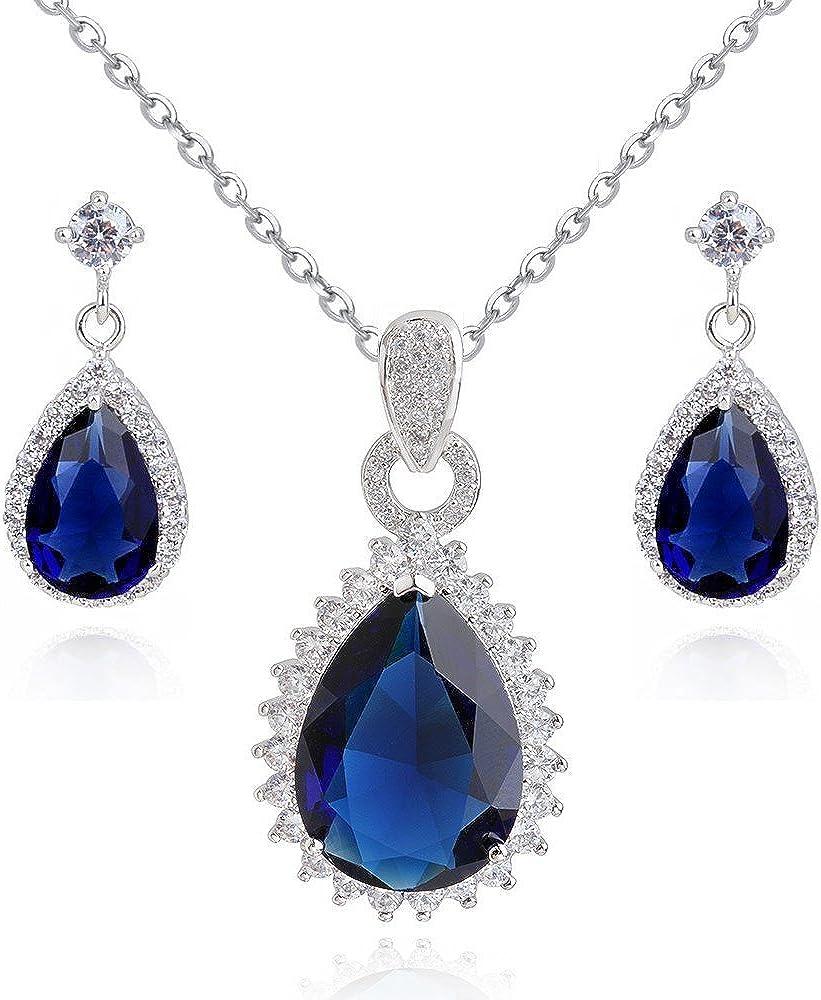 Lágrimas Zafiro simulado azul Cristales austríacos de Zirconia Juego de joyas Collar con colgante 45 cm Pendientes 18k Chapado en oro blanco