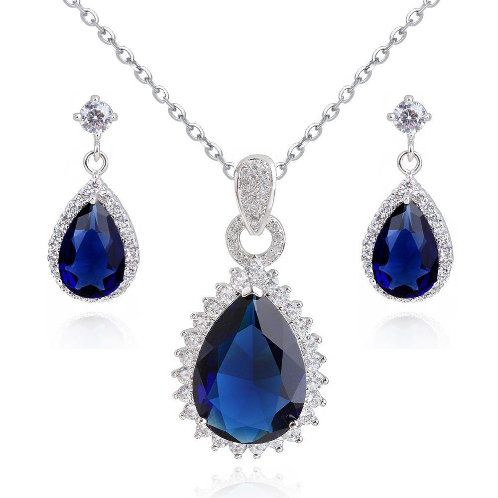 Teardrops Blue Simulated Sapphire Zirconia Austrian Crystals Set Pendant Necklace 18 Earrings 18 ct White Gold Plated Crystalline CR-AZ-0400