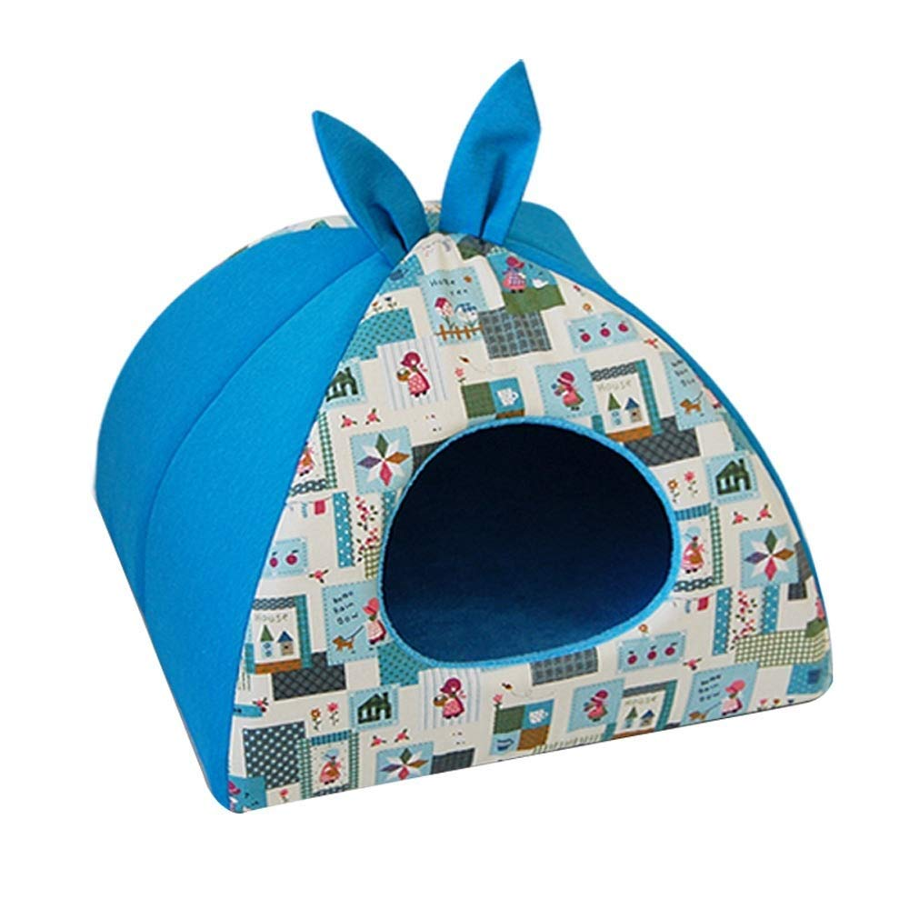 bluee Cute Plush Kennel Cat Nest Four Seasons Universal Indoor Comfort Pet Small Medium Cat Dog Supplies Home Decoration 19-inch Multi-color Optional (color   bluee)