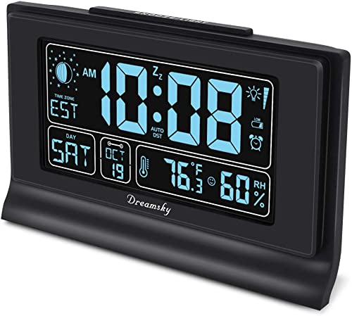 DreamSky Auto Set Alarm Clock with USB Charging Ports, 6 Large Display with Indoor Temperature Humidity, Date Day Moon Phase, Brightness Dimmer, Auto DST, Backup Battery