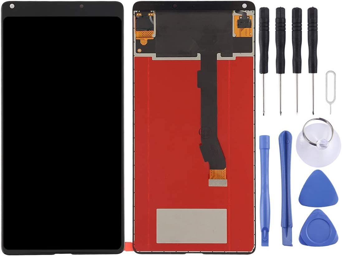 Black YANGJIAN LCD Screen and Digitizer Full Assembly for Xiaomi Mi Mix2 Color : White