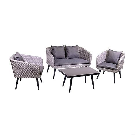 adami Juego de jardín sofá 2 sillones y Mesa de ratán Salem ...