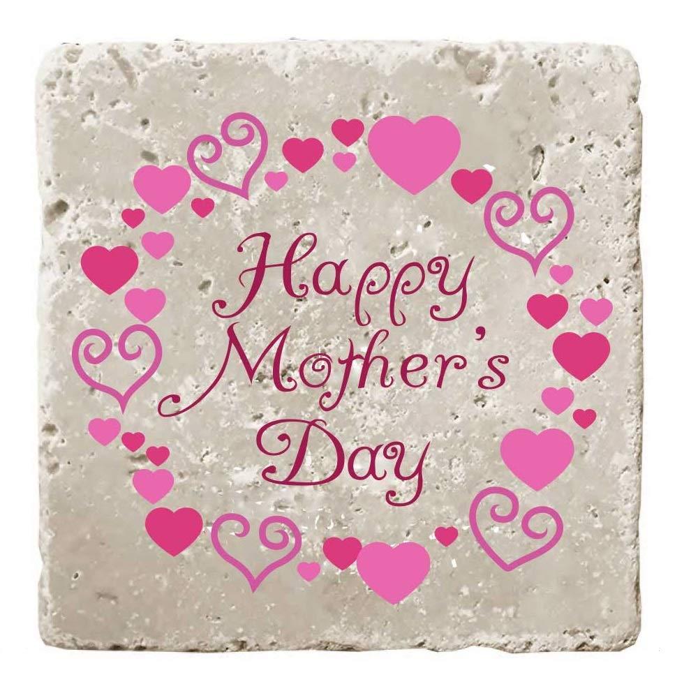 母の日用トラバーチンコースター 4枚セット INTC-3883-4  Happy Mother's Day - Hearts B07PXMX128