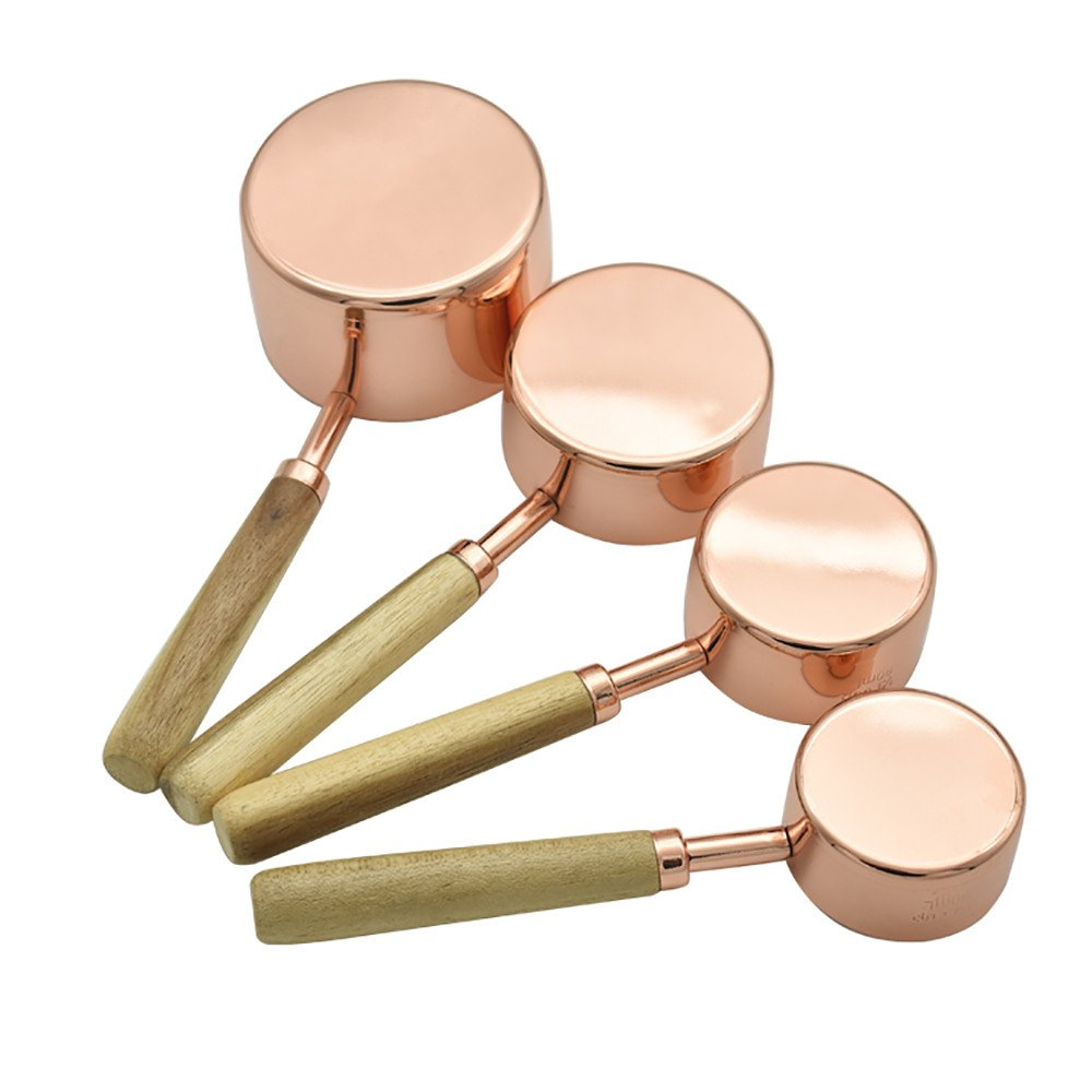 USHOT Rose Gold Log Handle Measuring Spoon&Cup Round Head Baking Tool