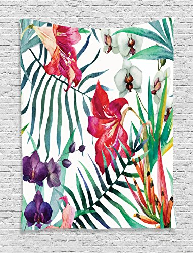 Watercolor Flower Decor  Tropical Wild Orchid Flowers