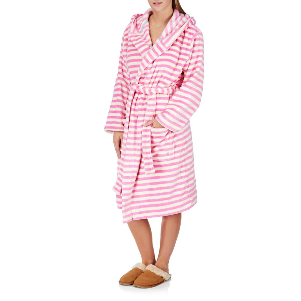 Joules Ladies Rita Super Soft Fleece Dressing Gown Pink: Amazon.co ...