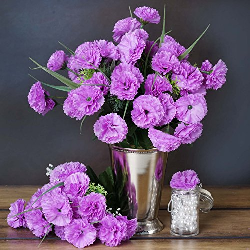 BalsaCircle 252 Lavender Mini Silk Carnations - 12 Bushes - Artificial Flowers Wedding Party Centerpieces Arrangements Bouquets
