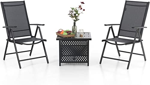 MFSTUDIO 3 Piece Metal Patio Dining Set,Outdoor Bistro Furniture with1 x Wrought Iron Square Table