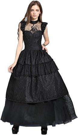 Longue Robe Noire Lolita Volants Motif Paon Dentelle Elegant Gothique Amazon Fr Vetements Et Accessoires