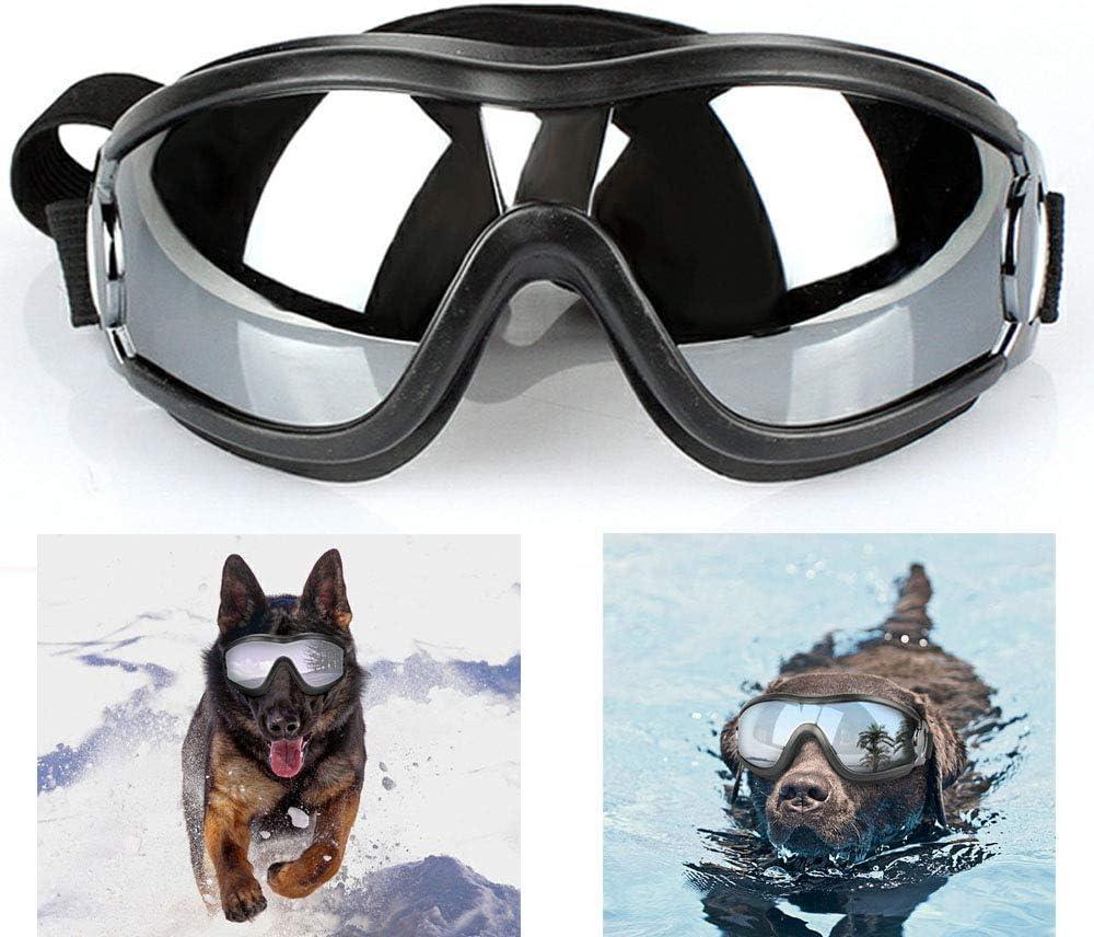 Wotendy Gafas para Perros, Gafas de Sol Impermeables de Protección UV a Prueba de Viento para Perros Medianos Grandes para Correr/Conducir/Caminar al Aire Libre