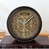 Hongge Relojes de Chimenea,Vintage Antiguo Negro Madera Talla de Madera Moda Creativa Retro Reloj