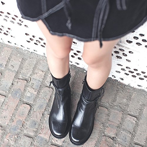 tied leather Women boots 120W with feet rivet head Martin NSXZ 's round boots 8ax6f