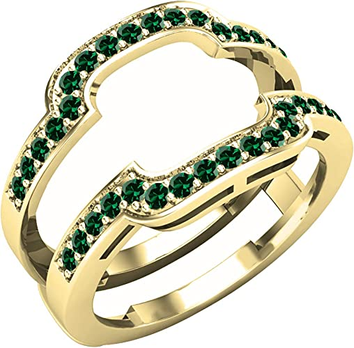 Dazzlingrock Collection 14K Gold Round Emerald /& White Diamond Ladies Anniversary Wedding Band Guard Double Ring