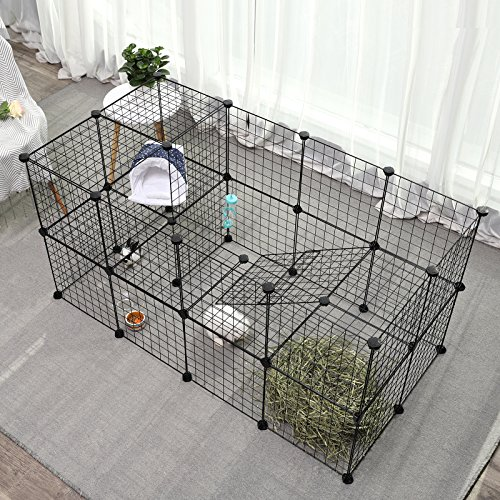 SONGMICS Small Pet Playpen, Metal Wire Apartment-Style Two-Storey Animal Fence and Kennel, Comfortable Pet Premium Villa for Guinea Pigs, Rabbits, Includes Rubber Mallet for Indoor Use ULPI02H by SONGMICS (Image #2)