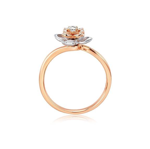 AmDxD Joyería 18k Oro Anillo de Boda para Mujer Flor Rosa Redondo Diamante Anillo: Amazon.es: Joyería
