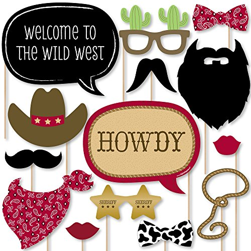 Big Dot of Happiness Little Cowboy - Western Photo Booth Props Kit - 20 Count -