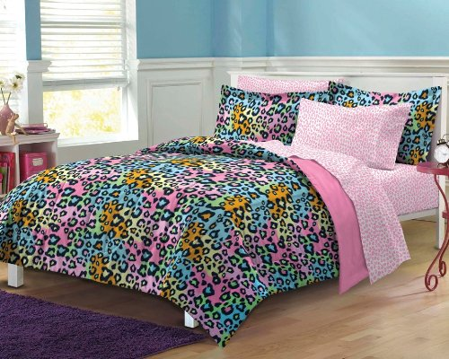 - Neon Leopard Ultra Soft Microfiber Girls Comforter Sheet Set, Multi