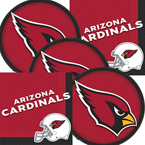 Arizona Cardinals NFL Football Team Logo Plates And Napkins Serves 16