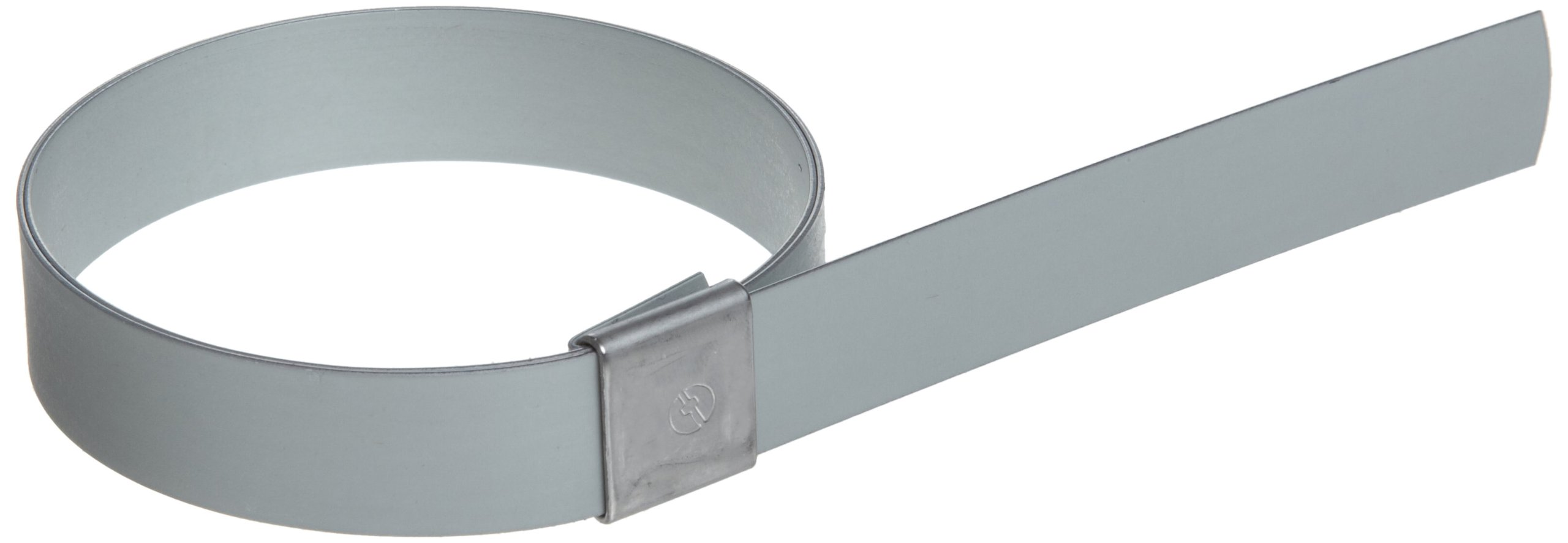 BAND-IT CP1099 5/8'' Wide x 0.025'' Thick 2-1/2'' Diameter, Galvanized Carbon Steel Center Punch Clamp (50 Per Box)