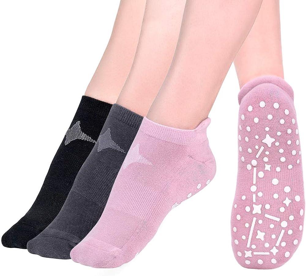Time May Tell Non Slip Cushion Yoga Socks for Women Barre Pilates with Grips Moisture Wicking Hospital Socks 3 Pair