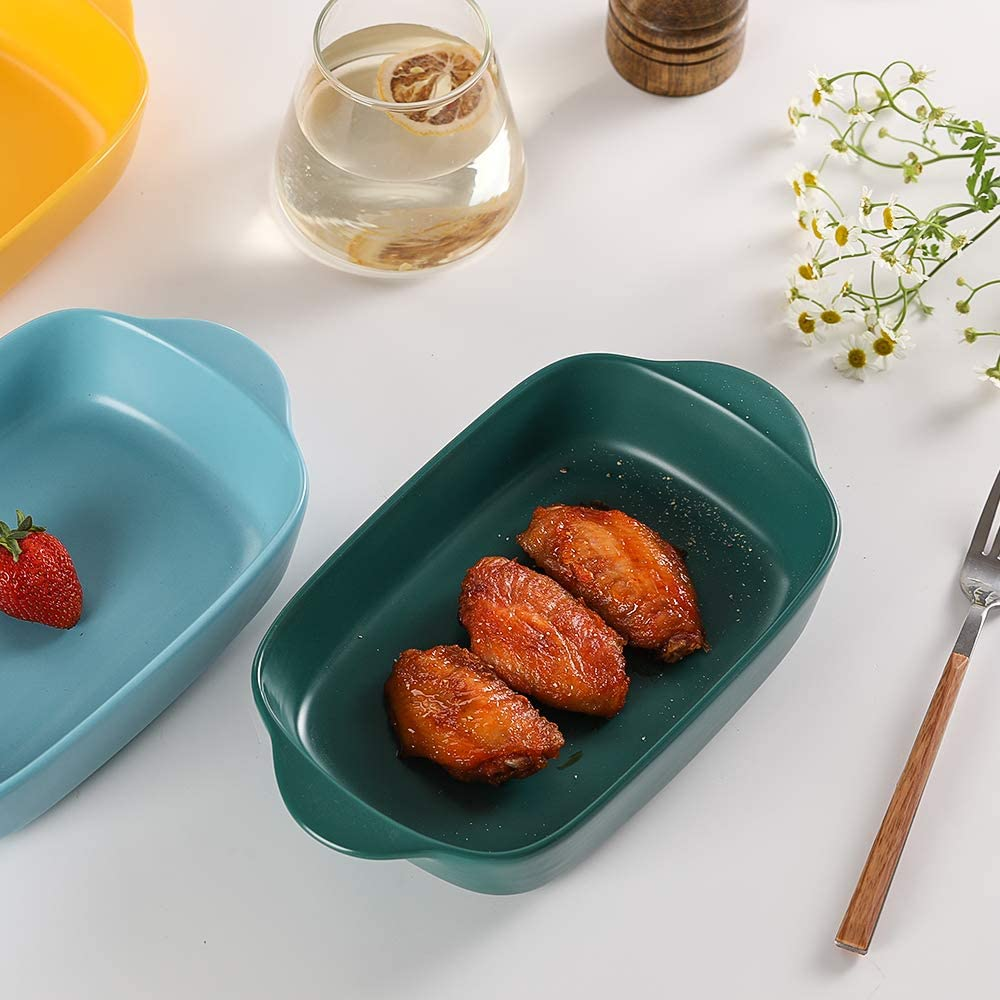 Yellow Small Ceramics Rectangular Baking Dishes with Handle for Oven Ceramic Baking Pan Lasagna Casserole Pan Individual Bakeware 9x5 inch