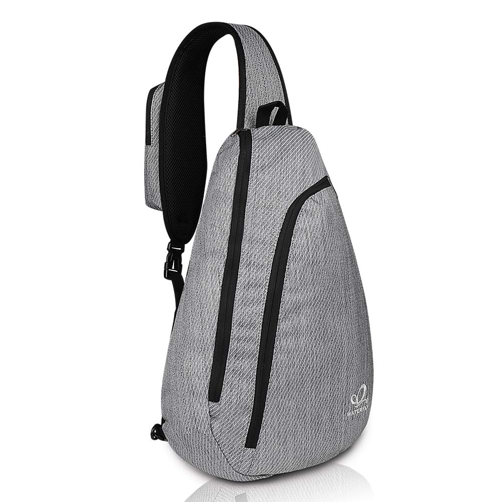 Waterfly Sling Chest Backpacks Bags Crossbody Shoulder Triangle Packs Daypacks for Cycling Walking Dog Hiking Boys Girls Men Women (Light Gray)