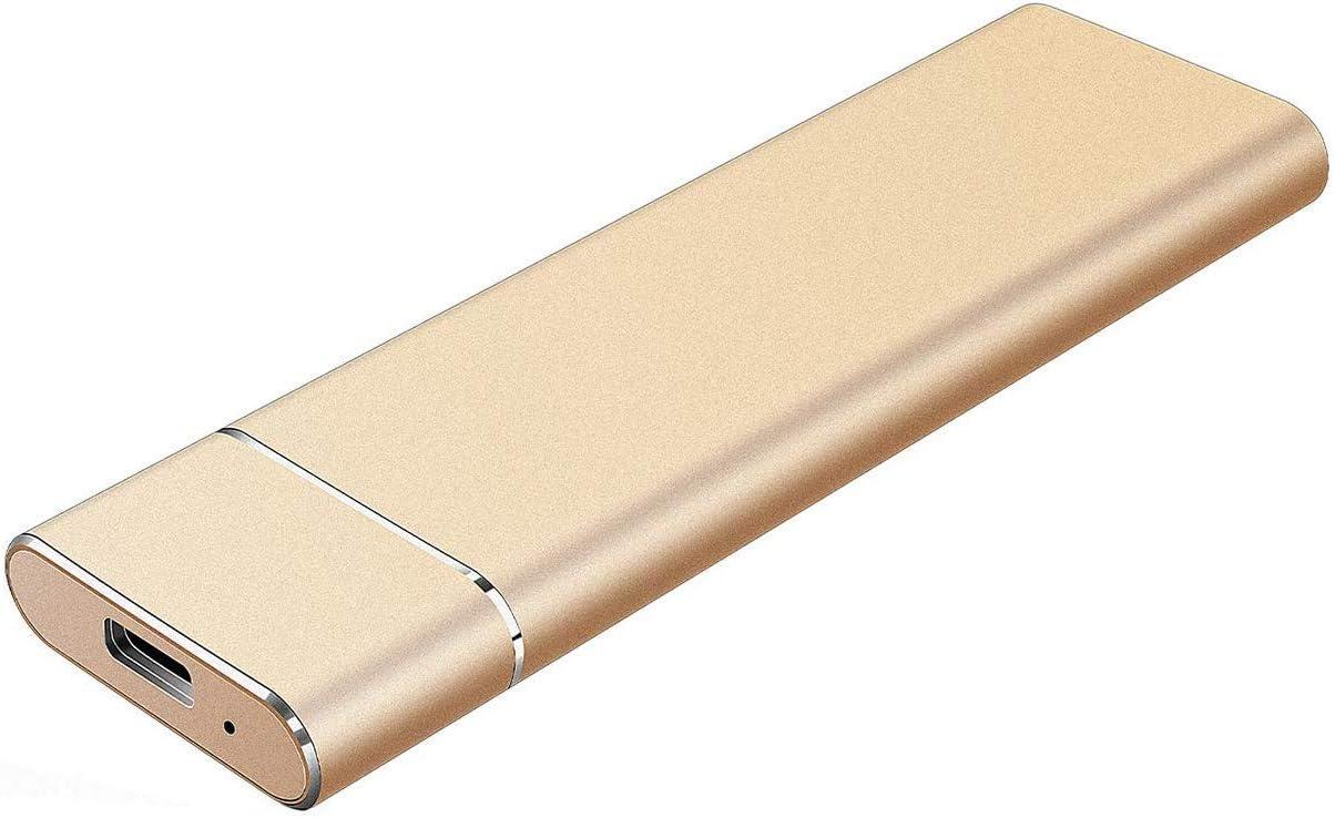 External Hard Drive 1TB 2TB, Ultra Slim Portable Hard Drive External USB 3.1 Type-C HDD Storage Compatible for Mac, PC, Desktop, Laptop, Xbox One (A-2TB-Golden)