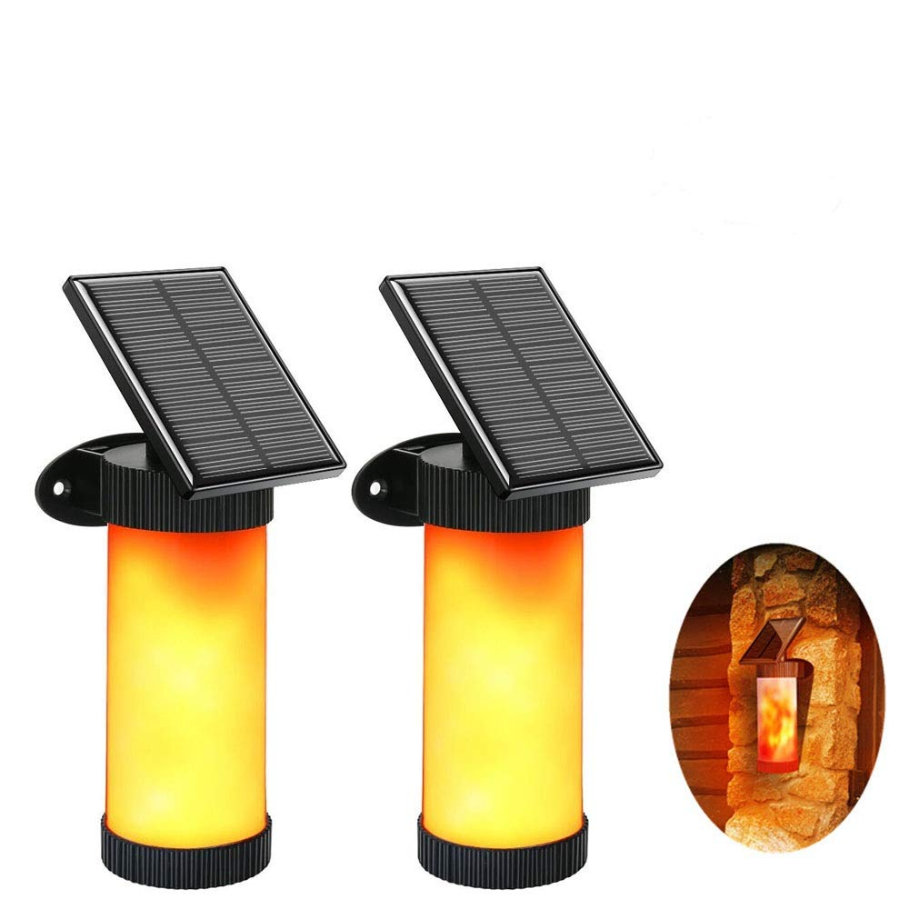 GZQ Wall Light Dancing Flickering Flames Solar Outdoor Lights Torch with 102 LED and Auto On/Off Waterproof for Deck Yard Fence Home Stairs Patio Garden Driveway Pathway Festival Decoration (2 Pack)