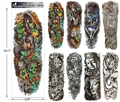 Fashion Temporary Tattoo Transfer Stickers - 8 Sheets Large Size Tattoo Body Stickers for Man & Women Waterproof Removeable Non-Toxics & Safe for All Skin (Full Arm Set.2) by N-Green (Image #1)