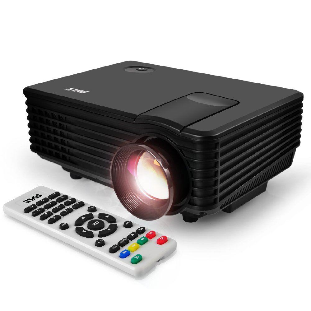 Pyle Video Projector 1080p Full HD-USB HDMI DVI Inputs, Remote Control, Keystone, LCD LED, Digital Multimedia, Mini Home Theater Movie Cinema for TV Laptop PC Computer & Business Offices - (PRJG88) by Pyle