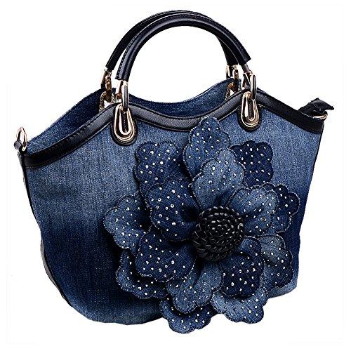 Ruiatoo Flower with Denim Rose Women Clutch Portable Evening Black Messenger Rhinestone Handbag Bag for Leisure SrSU5wq