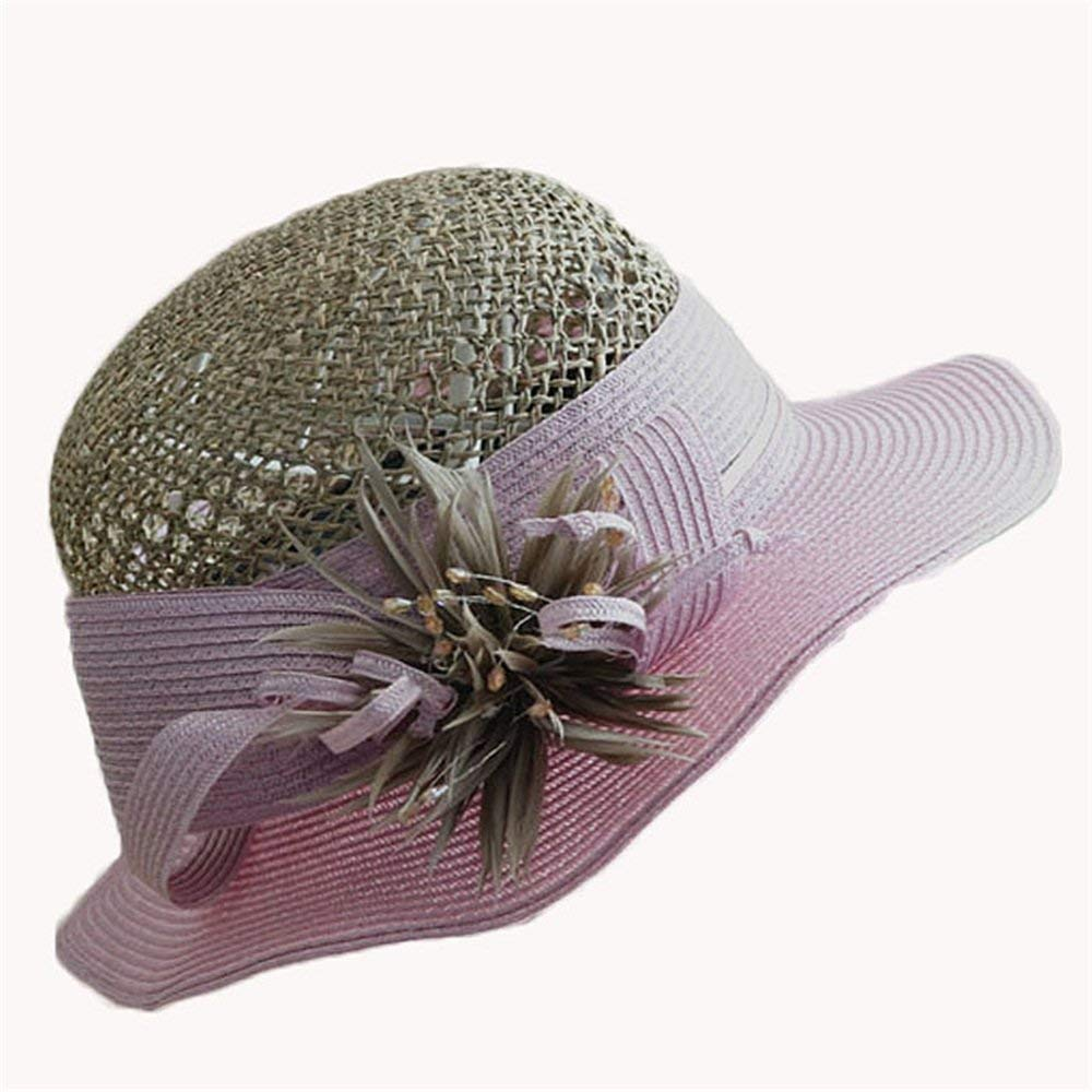 PINGF HOME 女性用帽子ダブルリネンフラワートップハットレディビーチ春旅行日麦わら帽子   B07QYZY55S