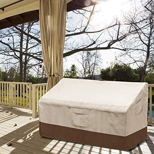 Vailge 2-Seater Heavy Duty Patio Bench Loveseat Cover, 100% Waterproof Outdoor Sofa Cover, Lawn Patio Furniture Covers with Air Vent, Small(Standard), Beige & Brown