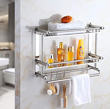 Wall-Mounted Storage Rack Rectangular for Shower Room Creative Bathroom Shelf Bathroom Rack Over Toilet Chrome