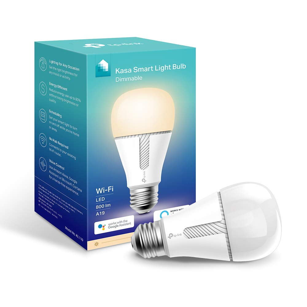 Kasa Smart Wi-Fi LED Light Bulb by TP-Link - Dimmable, A19, No Hub Required, Works with Alexa & Google Assistant, Also Available for California residents (KL110) by TP-Link (Image #1)