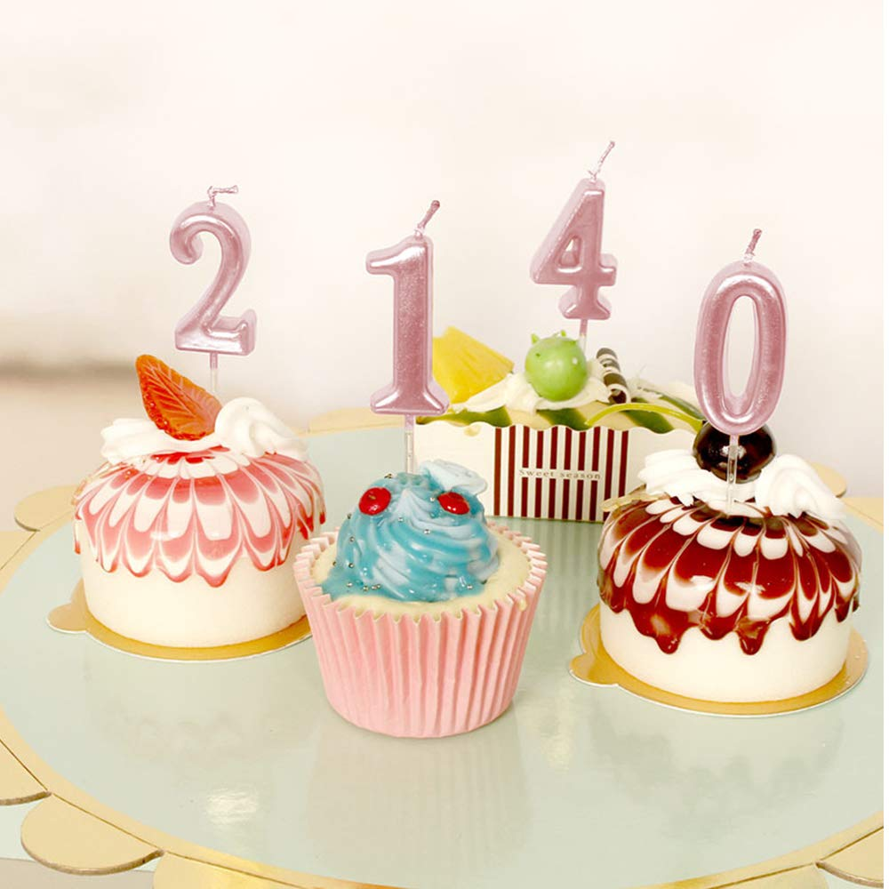 Amazon.com: Xnova - Velas con números rosas para fiesta de ...