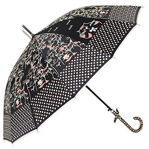 Uniumbrella Polka Dots Cat Animal Print Stick Rain Umbrella, (Animal Print Umbrella)
